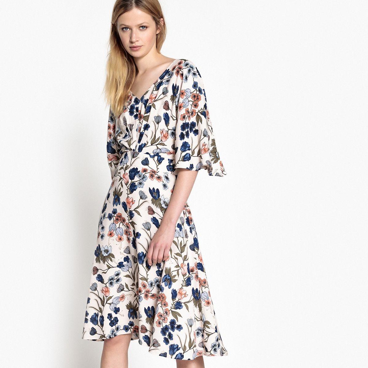Robe, imprimé floral, ressérée à la taille