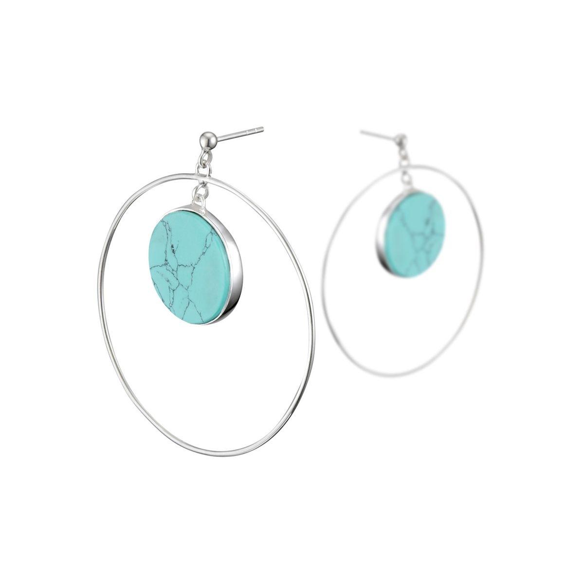 Boucles d'oreilles percées cercles en argent 925, Turquoise reconstituée, 9g, Ø45mm