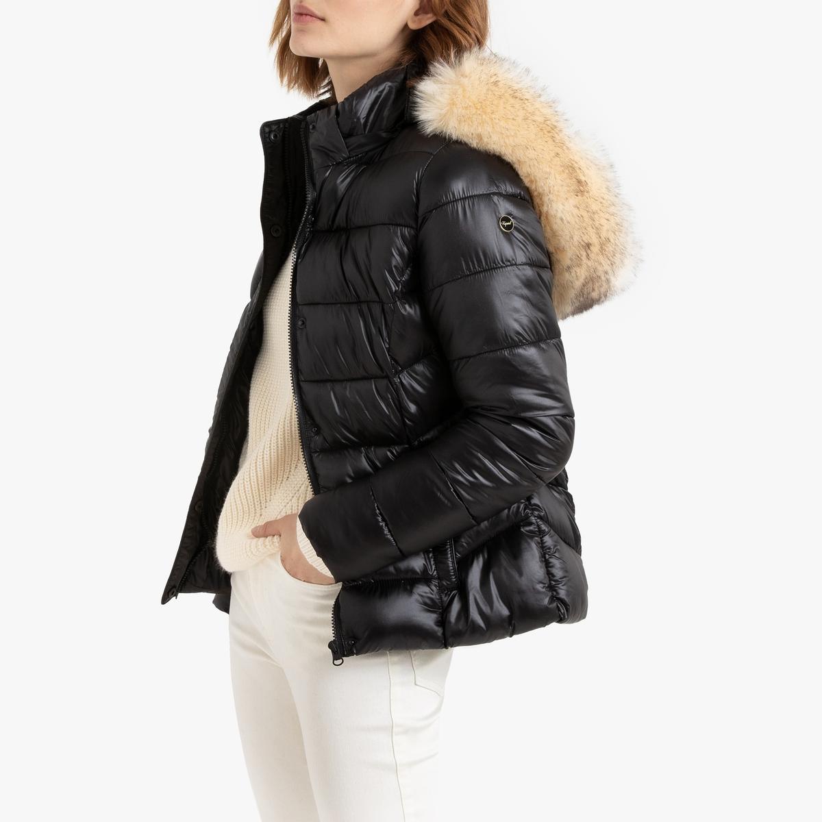 цена Куртка La Redoute Стеганая короткая с капюшоном с оторочкой из искусственного меха L черный в интернет-магазинах
