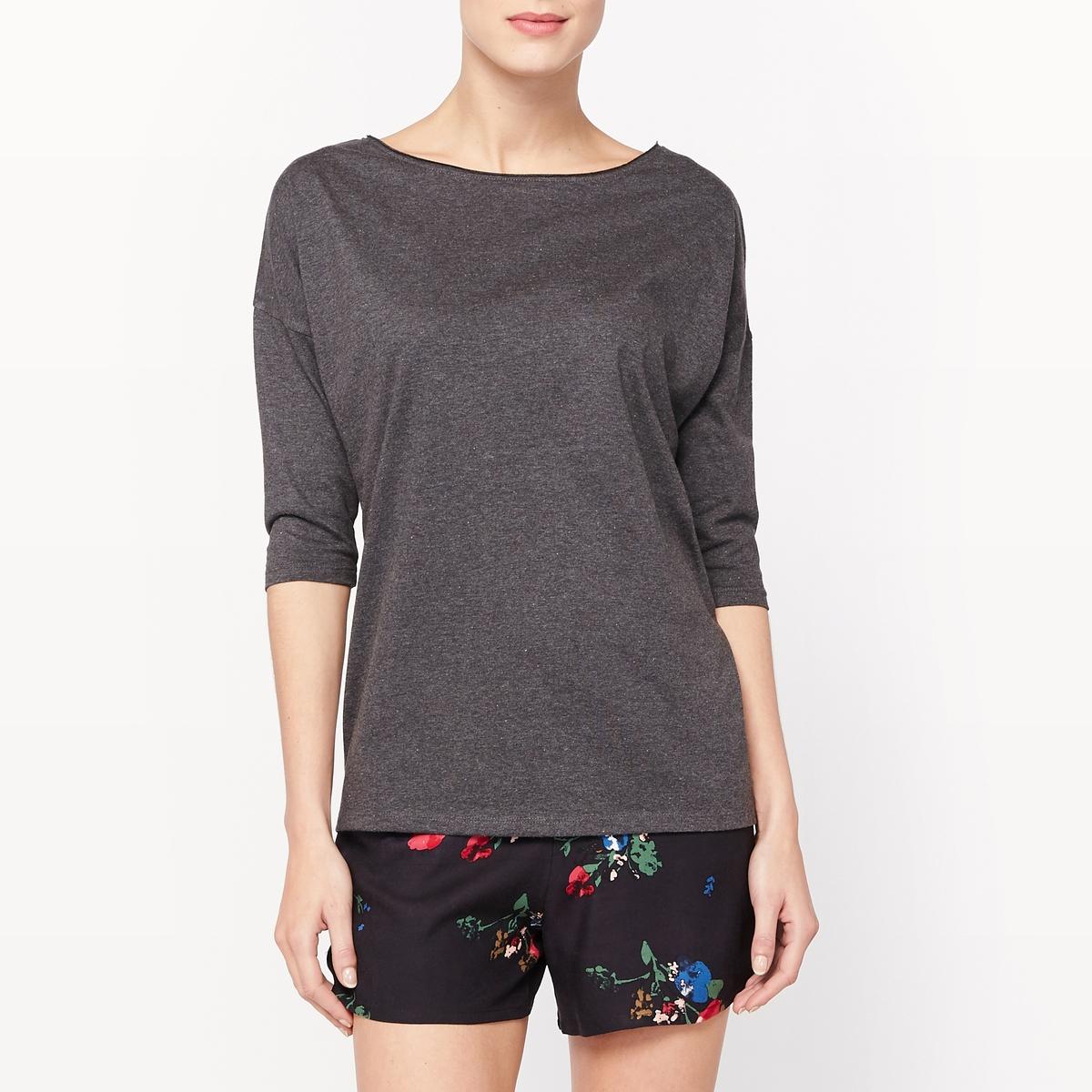 Пижама с шортами с рукавами 3/4Пижама с шортами. Футболка однотонного цвета из меланжевого трикотажа, вырез-лодочка. Приспущенные проймы, рукава 3/4. Шорты с цветочным рисунком, эластичный пояс. Состав и описание :Материал : футболка, 53% полиэстера, 47% хлопкаМатериал : шорты, 100% вискозаДлина : футболка 65 смДлина по внутр.шву : 6 смУход :Машинная стирка при 30 °C.Стирать с вещами схожих цветов.Гладить с изнаночной стороны.<br><br>Цвет: цветочный рисунок<br>Размер: 50 (FR) - 56 (RUS).46 (FR) - 52 (RUS).42 (FR) - 48 (RUS).38 (FR) - 44 (RUS).36 (FR) - 42 (RUS)