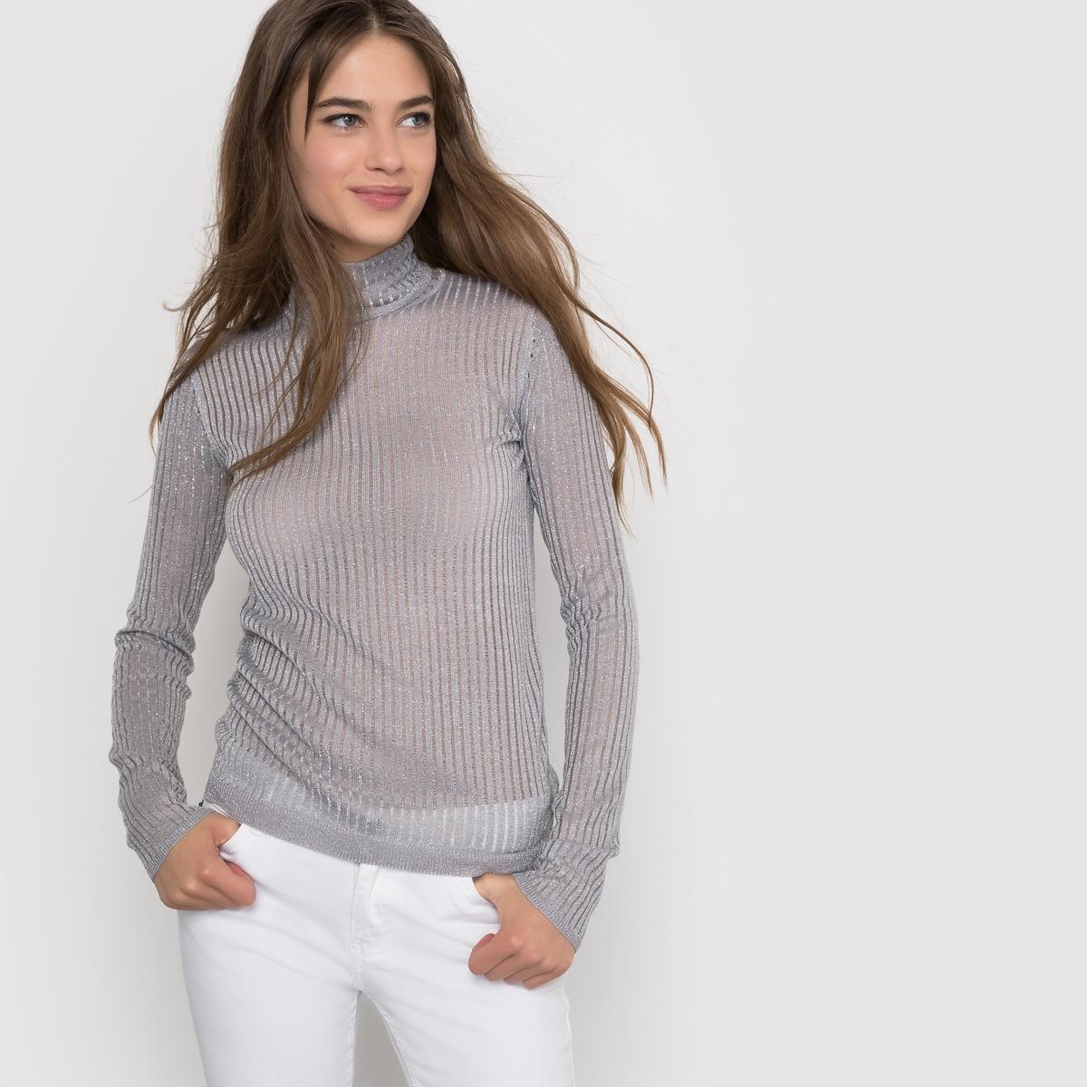 Облегающий пуловер в рубчик с металлизированными нитямиПуловер с длинным рукавом R ?dition. Очень облегающий и немного прозрачный изысканный пуловер в рубчик, с металлизированными нитями, воротник хомут. Состав и описание :Длина : 59 смМатериал : 95% акрила, 5% металлизированных нитейМарка :      R ?ditionУходСтирка при 30° с одеждой подобного цвета Не гладить<br><br>Цвет: красно-фиолетовый,светло-серый металл
