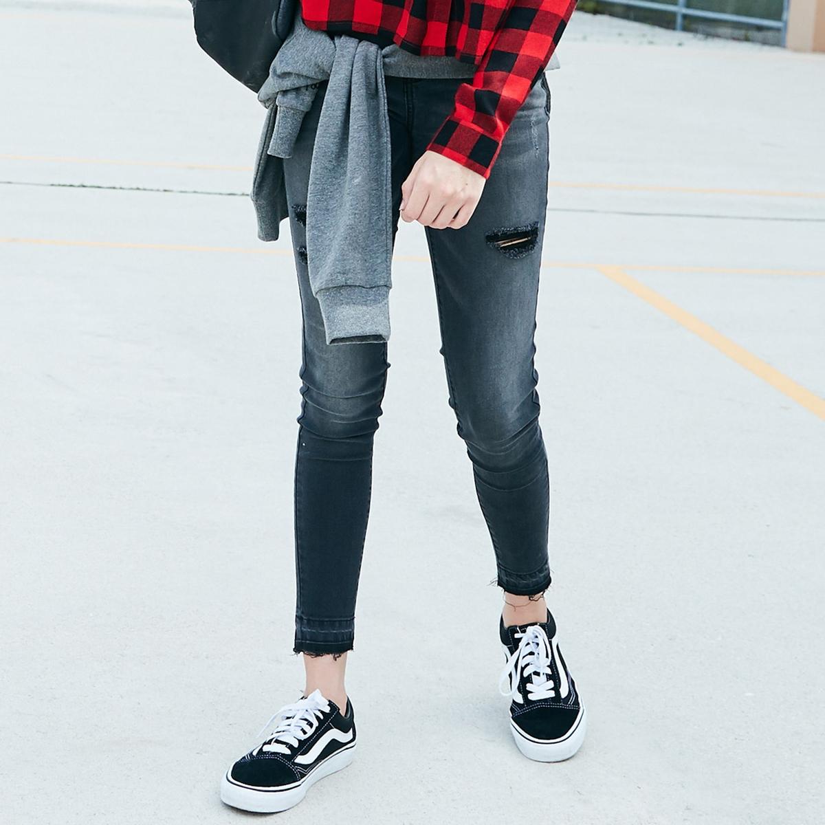 Джинсы скинни с рваным эффектом, 10-16 лет джинсы скинни с вышивкой 3 12 лет