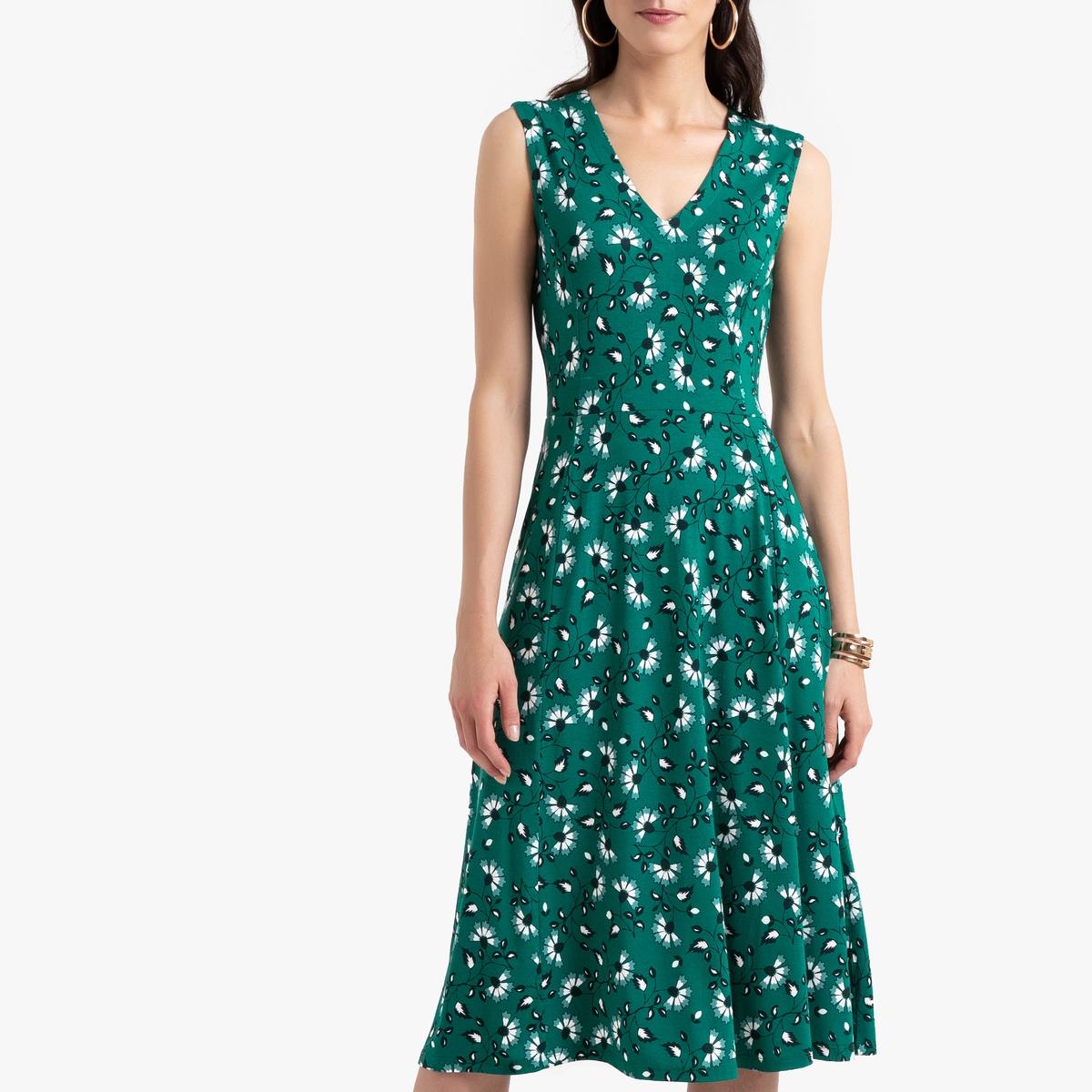 Платье La Redoute Расклешенное с цветочным принтом длина миди 52 (FR) - 58 (RUS) зеленый платье миди la redoute с запахом с цветочным принтом 54 fr 60 rus другие