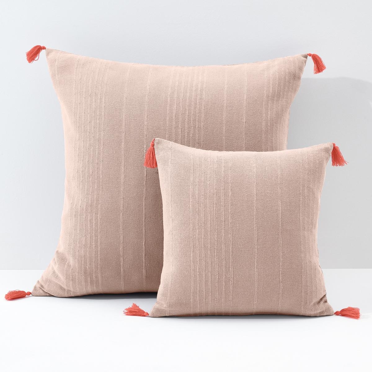 Чехол для подушки или наволочка однотонного цвета с помпонами, RIADХарактеристики чехла для подушки  Riad :100% хлопок (260 к/м?).Отделка контрастными помпонами.Размер подушки 40 x 40 см: скрытая застёжка на молнию сзади.Размер подушки 65 x 65 см : клапан сзади.Коллекцию подушек Terra, а также другие предметы коллекции Riad Вы найдете на laredoute.ruЗнак Oeko-Tex® гарантирует, что товары прошли проверку и были изготовлены без применения вредных для здоровья человека веществ.<br><br>Цвет: белый/ черный,Бледно-розовый/коралловый,серый/ розовый,сине-зеленый/желтый<br>Размер: 40 x 40  см.40 x 40  см.65 x 65  см