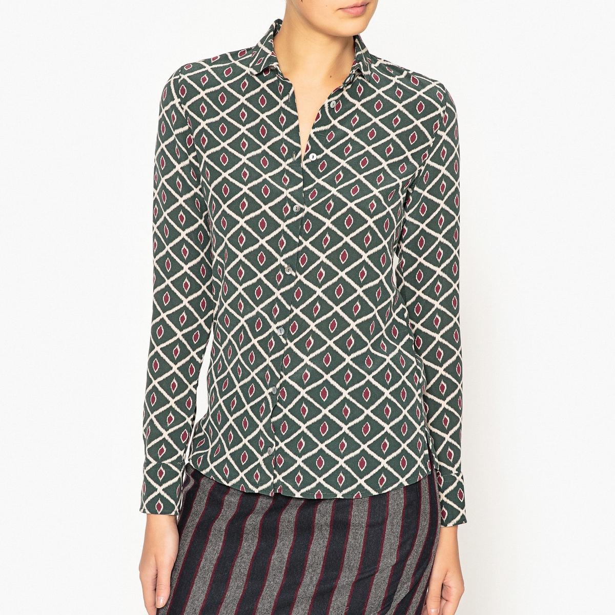 Рубашка из шелка с рисункомРубашка с длинными рукавами DIEGA - модель CHALALA из шелка и вискозы с рисунком.Детали •  Длинные рукава •  Прямой покрой  •  Воротник-поло, рубашечный  •  Рисунок-принтСостав и уход •  39% шелка, 61% вискозы •  Следуйте советам по уходу, указанным на этикетке<br><br>Цвет: зеленый<br>Размер: XS