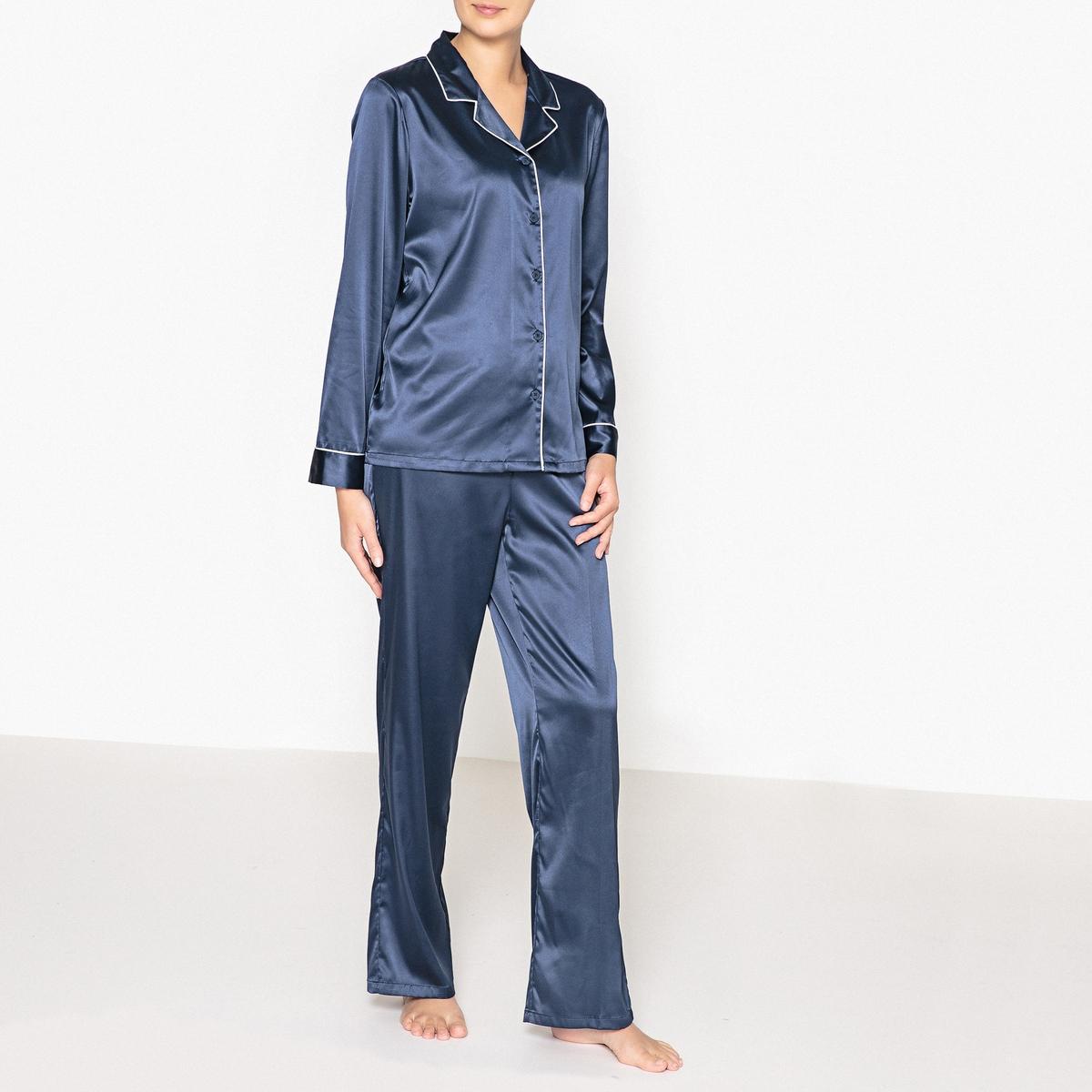 Пижама с рубашкой, из сатинаПижама с рубашкой, из сатина, Louise Marnay.Однотонная пижама из 2 предметов с контрастным кантом, винтажный стиль, прямой покрой. Верх: рубашечный воротник, застежка на пуговицы, длинные рукава. Брюки с эластичным поясом на завязках. Состав и описание : Материал : 96% полиэстера, 4% эластанаДлина :Верх: 68 смПо внутр.шву : 76 смМарка : Louise Marnay.Уход:Машинная стирка при 30 °С на деликатном режиме с вещами схожих цветов.Стирать и гладить при низкой температуре с изнаночной стороны.Машинная сушка запрещена.<br><br>Цвет: синий морской<br>Размер: 50 (FR) - 56 (RUS).40 (FR) - 46 (RUS)