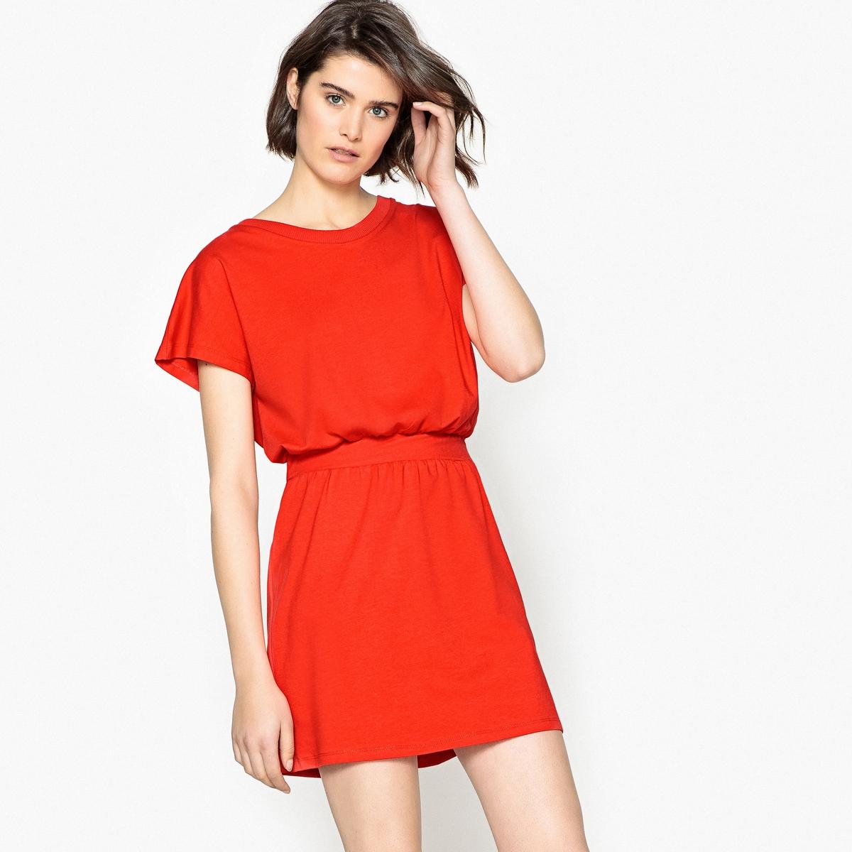 Effen jurk met aangetrokken taille