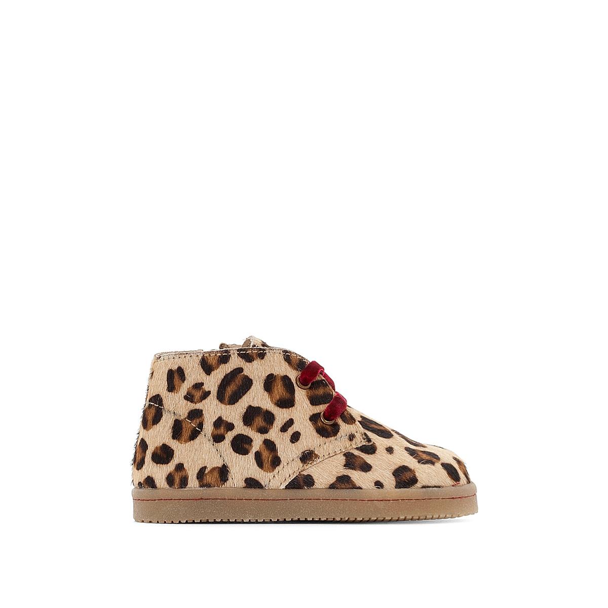 Ботинки из кожи на шнуровке с леопардовым принтом 19-25 цены онлайн