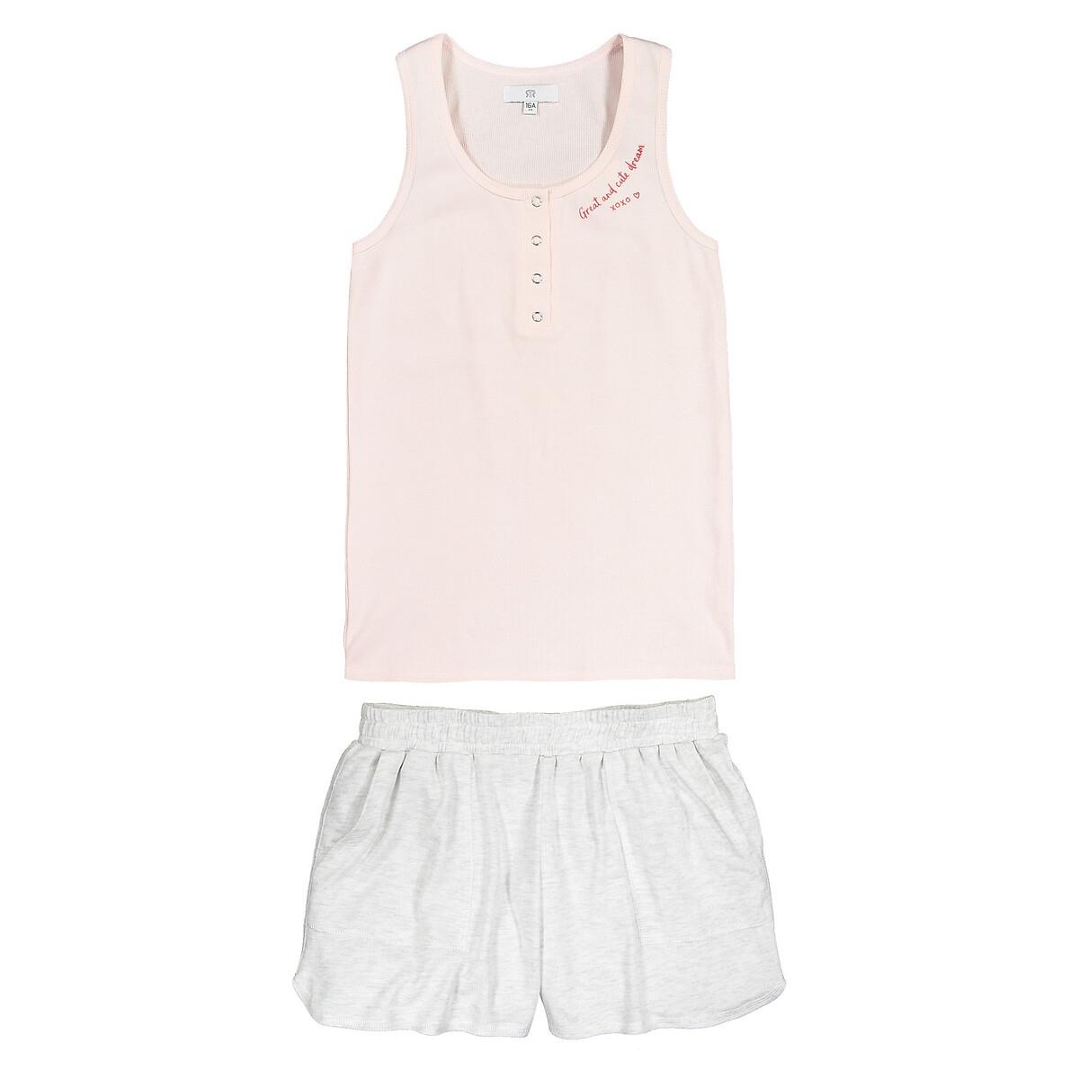 Пижама LaRedoute С шортами из биохлопка 10-18 лет 16 - 162 см розовый