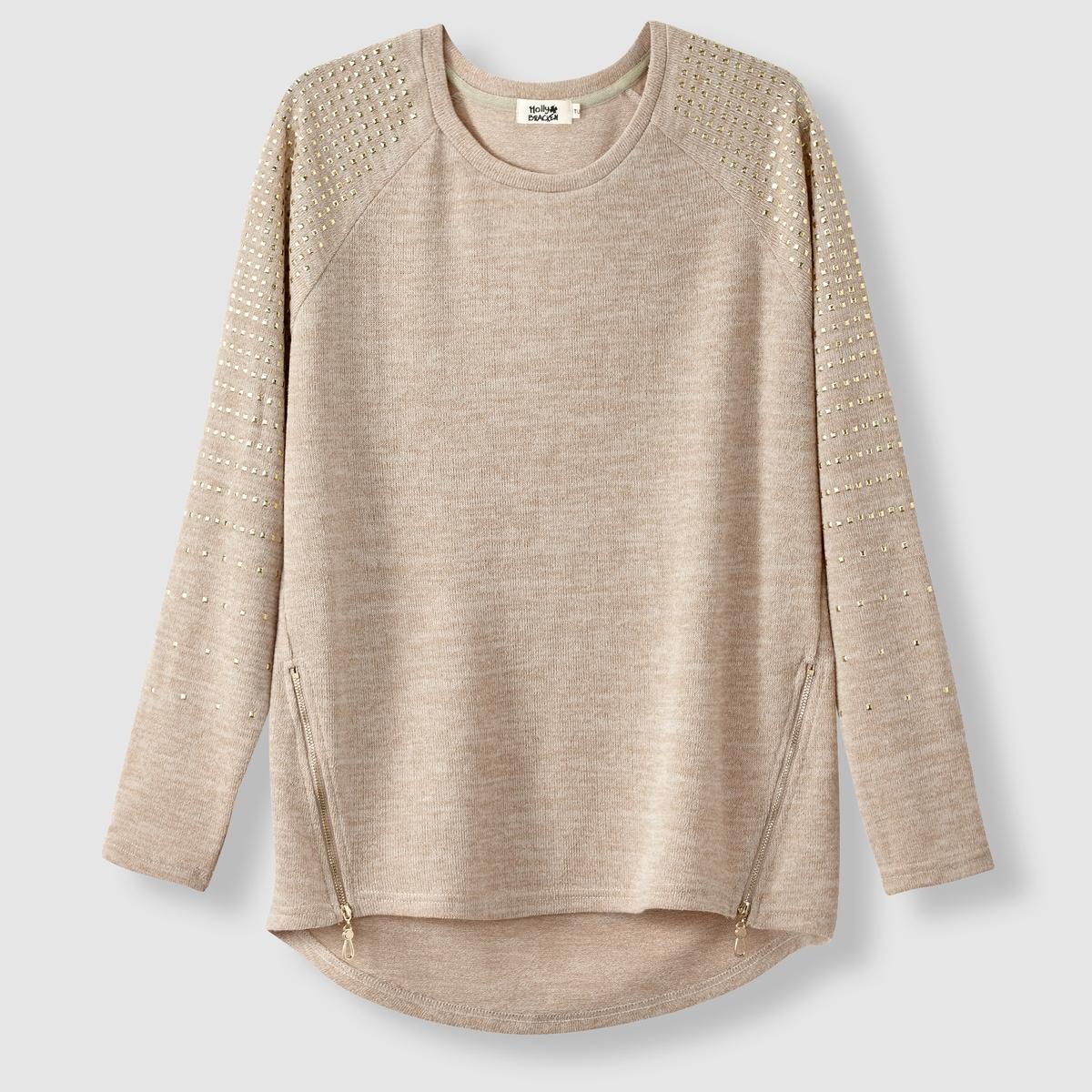 Пуловер с блестками, круглый вырезСостав и описание :Материал : 60% полиэстера, 35% хлопка, 5% эластанаМарка : MOLLY BRACKEN<br><br>Цвет: бежевый