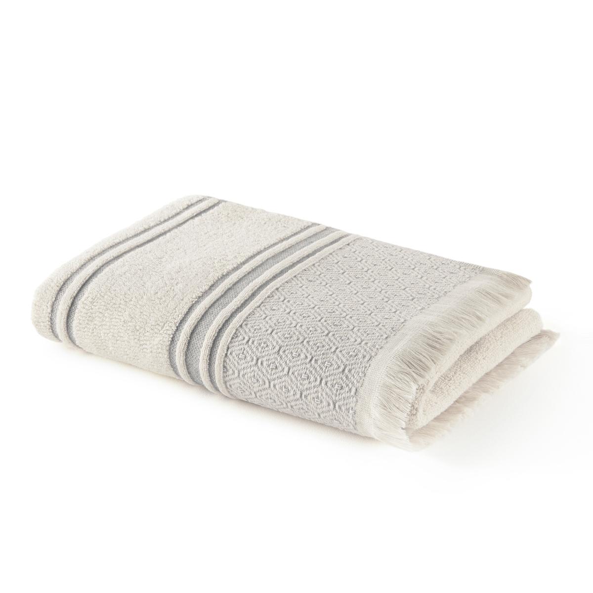 Полотенце La Redoute Из махровой ткани с бахромой из хлопка Agares 70 x 140 см серый комплект из полотенце для la redoute рук из хлопка и льна nipaly 50 x 100 см белый