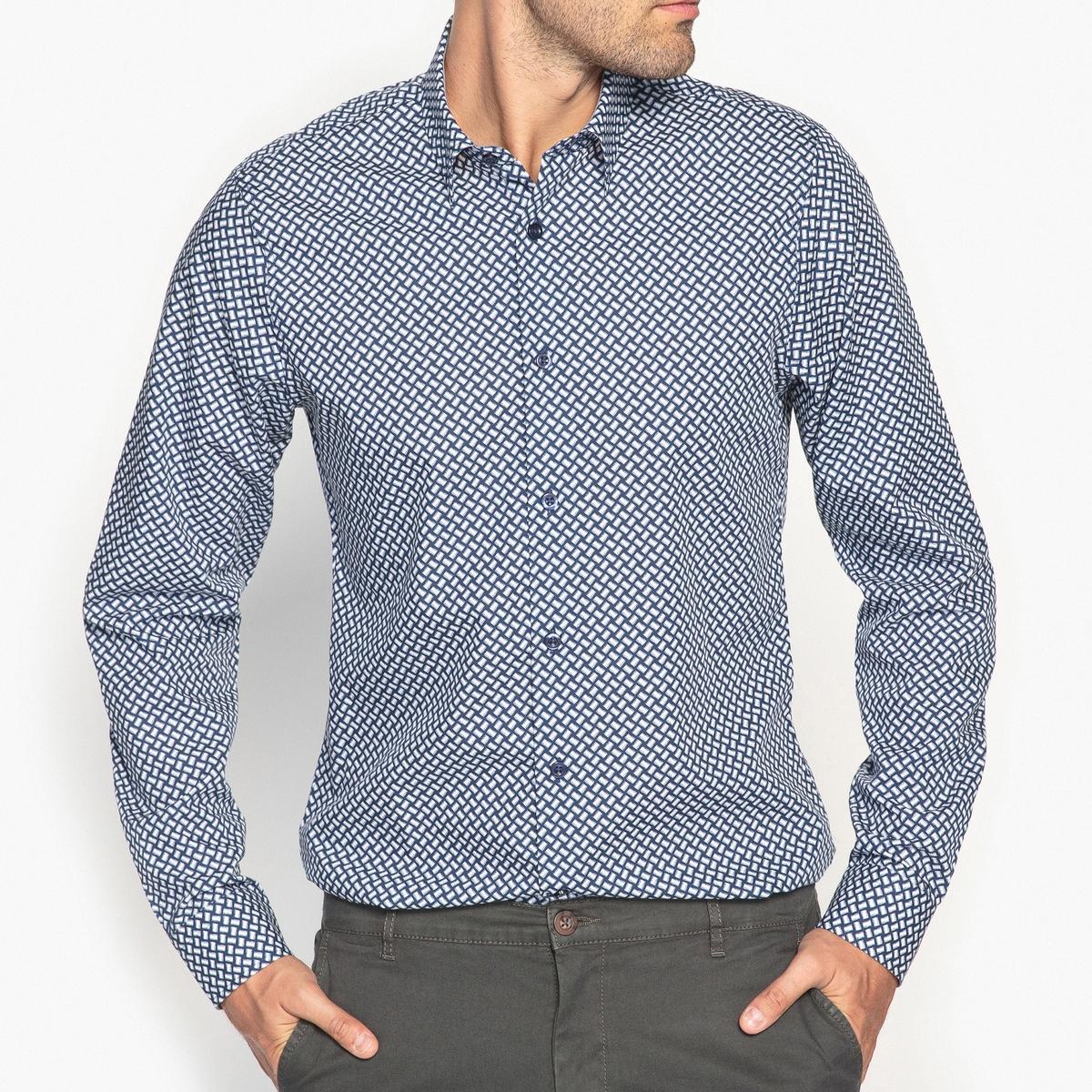 Рубашка узкая с принтом 100% хлопок