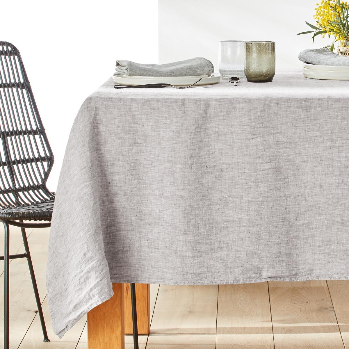 Скатерть LaRedoute Из ткани шамбре из 100 осветленного льна Victorine 170 x 300 см серый