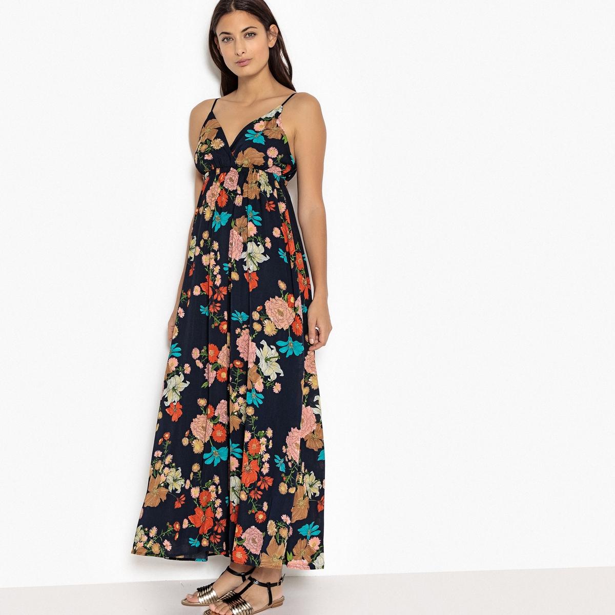 Платье расклешённое длинное с цветочным рисунком