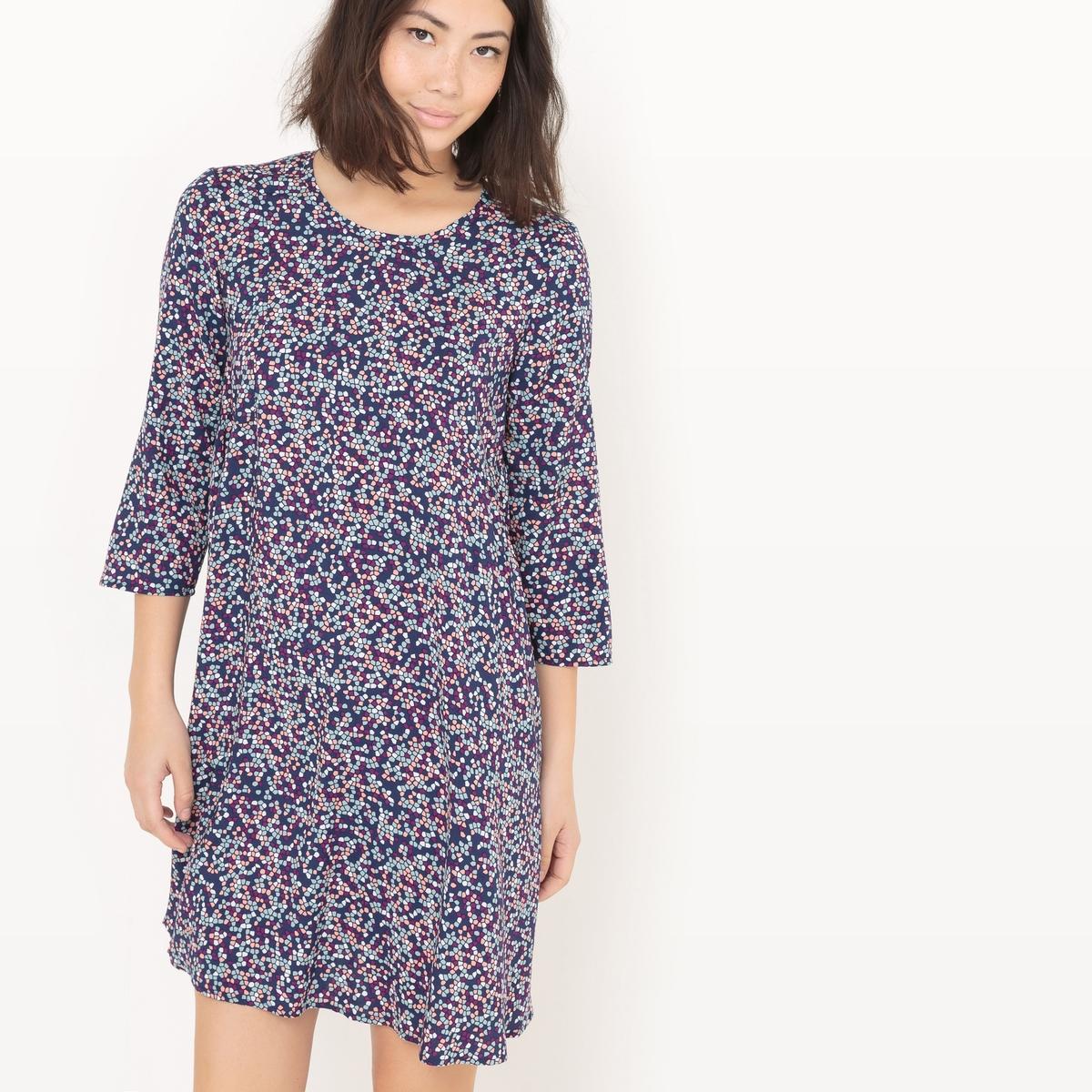 Платье-футляр струящееся с принтом