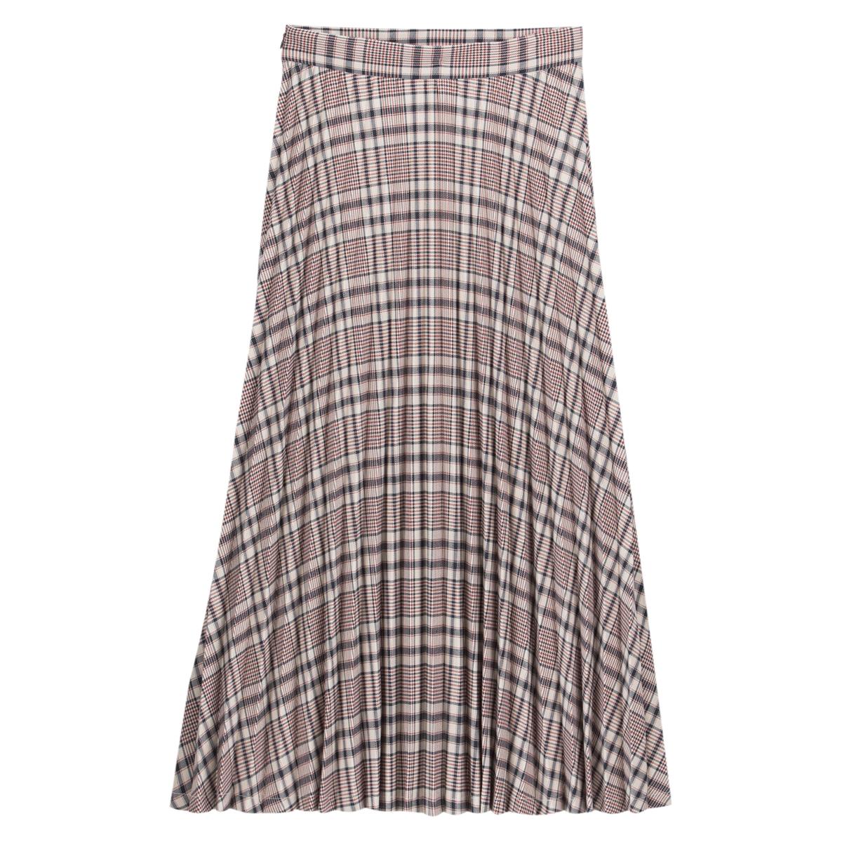 Falda larga plisada a cuadros