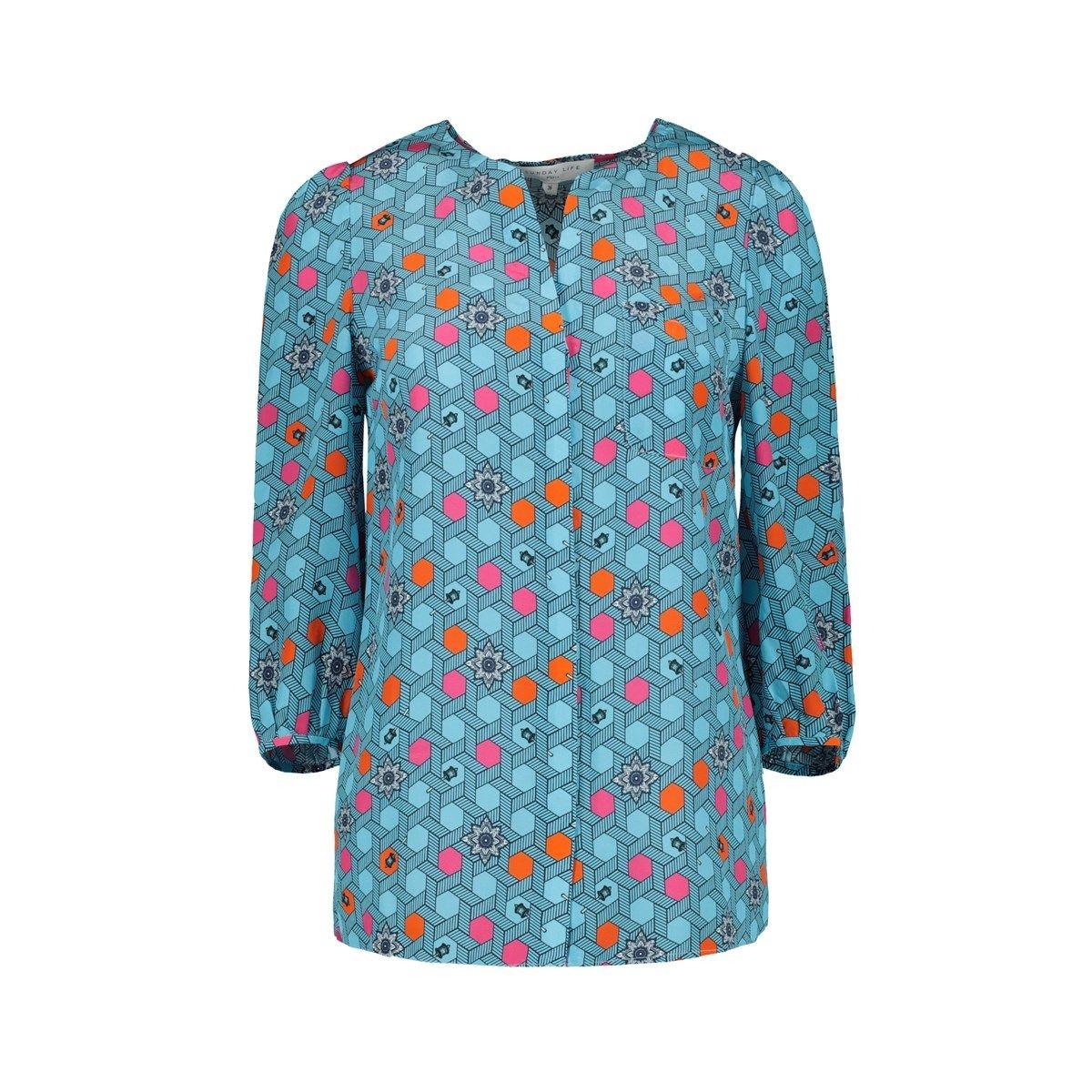 Chemise imprimée bleu Femme en pure Soie  tenue bureau chic