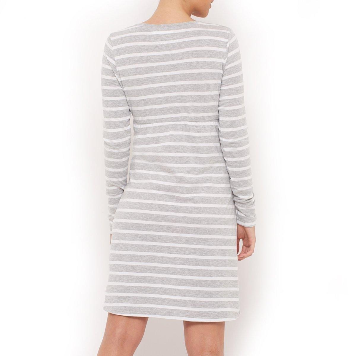 Ночная рубашка для периода беременности и кормления грудьюНочная рубашка для периода беременности и кормления грудью, длинные рукава, V-образный вырез с запахом и закругленной вставкой. Эластичная вставка под линией груди. Разрезы по бокам. Длина ок.90 см. Ночная рубашка для периода беременности и кормления грудью из джерси 95% хлопка, 5% эластанаМашинная стирка. Знак Oeko-Tex*.    *Международный знак Oeko-Tex гарантирует отсутствие вредных или раздражающих кожу веществ<br><br>Цвет: серый/белый в полоску<br>Размер: 42/44 (FR) - 48/50 (RUS)