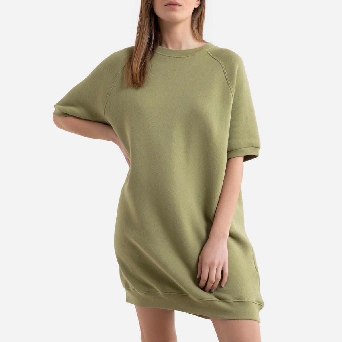 Платье-свитшот LaRedoute Укороченное с короткими рукавами IKATOWN M/L зеленый футболка laredoute из биохлопка с короткими рукавами vegiflower m зеленый