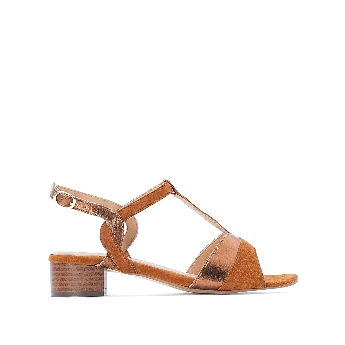 Босоножки La Redoute Двухцветные на среднем каблуке 38 каштановый туфли la redoute на среднем каблуке с питоновым принтом 36 каштановый