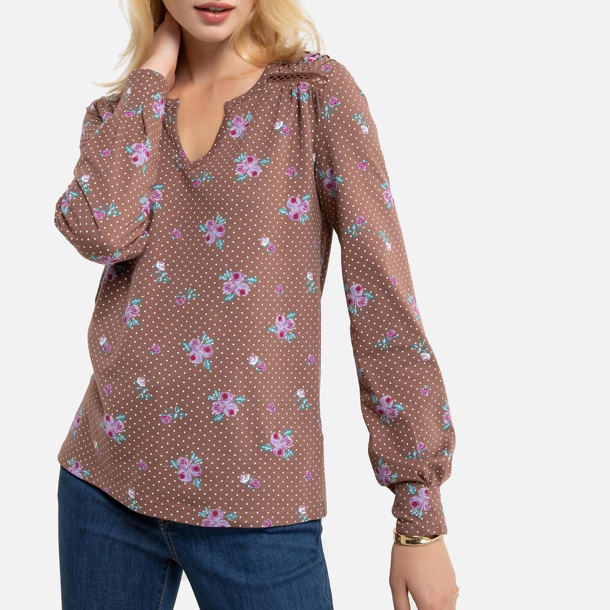 Blusa estampada com decote tunisino, em algodão & modal