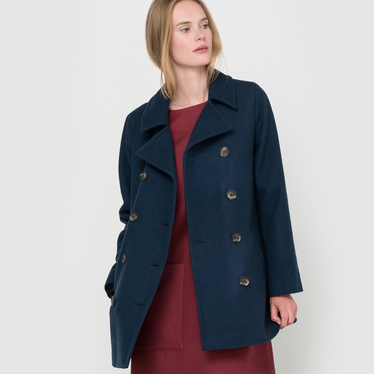 Куртка из шерстяного драпа Made in FranceКуртка из шерстяного драпа, произведенная во Франции . Гарантия высокого качества ! Длинные рукава. Пиджачный воротник. Двубортная застежка на пуговицы. Складка внутрь сзади. 2 кармана спереди.Состав и описаниеМатериал : Драп 70% шерсти, 15% полиэстера, 10% полиамида, 5% других волокон - Подкладка 100% полиэстера Длина : 75 смМарка : R essentiel.УходГладить при умеренной температуре- Сухая чистка.<br><br>Цвет: бордовый,синий морской<br>Размер: 38 (FR) - 44 (RUS).36 (FR) - 42 (RUS).36 (FR) - 42 (RUS).40 (FR) - 46 (RUS)