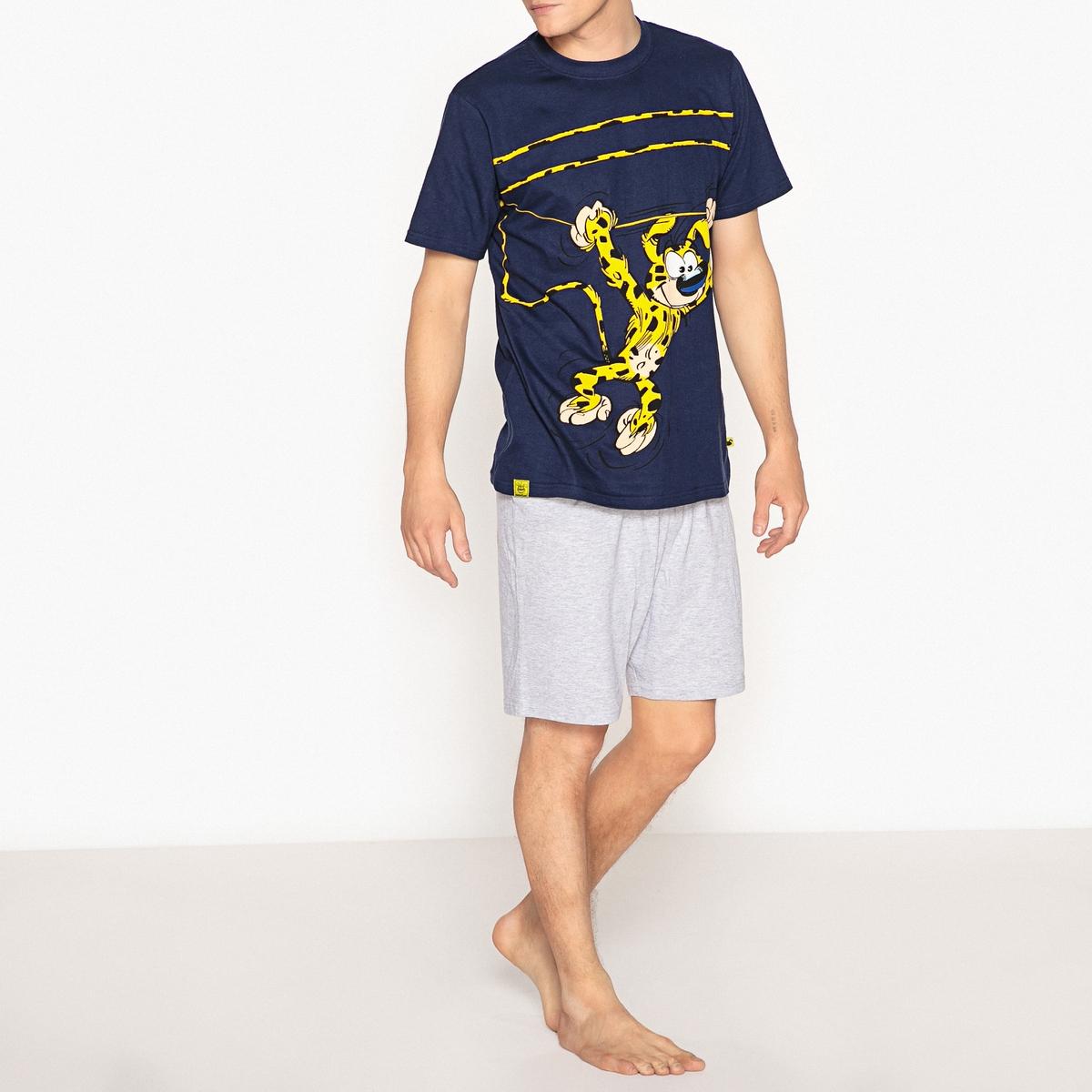 Пижама с шортами из хлопка с рисунком MarsupilamiОписание:Хлопковая пижама Marsupilami с футболкой с рисунком и шортами позволит вставать всегда с Той ноги!Состав и описание :Хлопковая пижама с шортами.Верх с круглым вырезом, короткими рукавами, рисунком и логотипом  Marsupilami  Шорты с эластичным поясом.  •  Материал : Футболка  92% хлопка, 8% полиэстера - Шорты  100% хлопок  •  Марка : Marsupilami Уход :  •  Стирать с вещами схожих цветов при 30°.  •  Гладить с изнаночной стороны при низкой температуре •  Машинная сушка запрещена.<br><br>Цвет: темно-синий + серый меланж