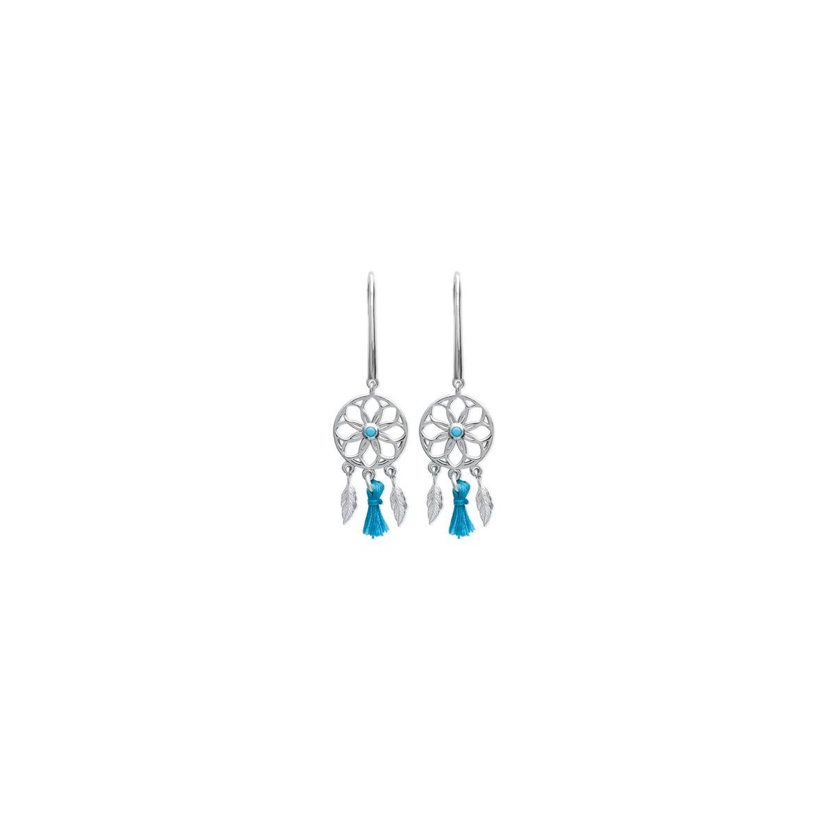 Boucles d'oreilles pendantes 'Attrape Rêve et pompoms bleus'