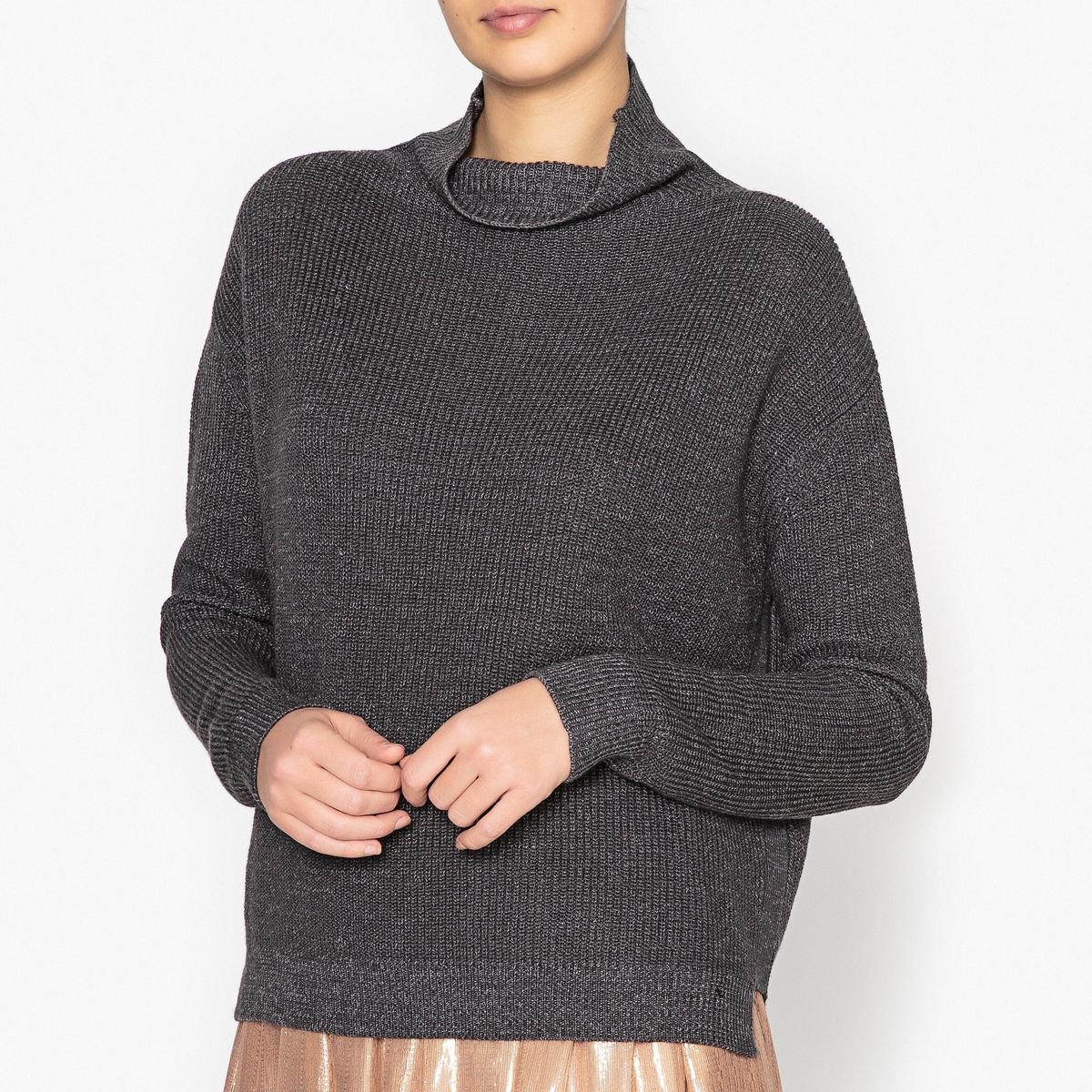 Пуловер с воротником-стойкой из ребристого трикотажа