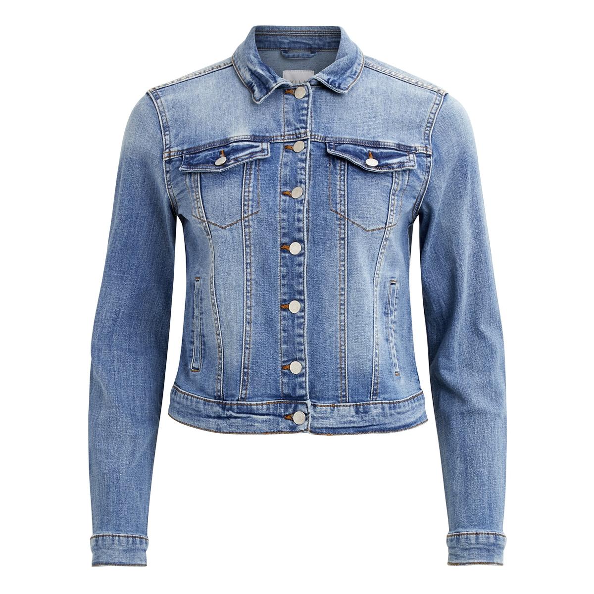 Куртка LaRedoute Прямого покроя из джинсовой ткани S синий