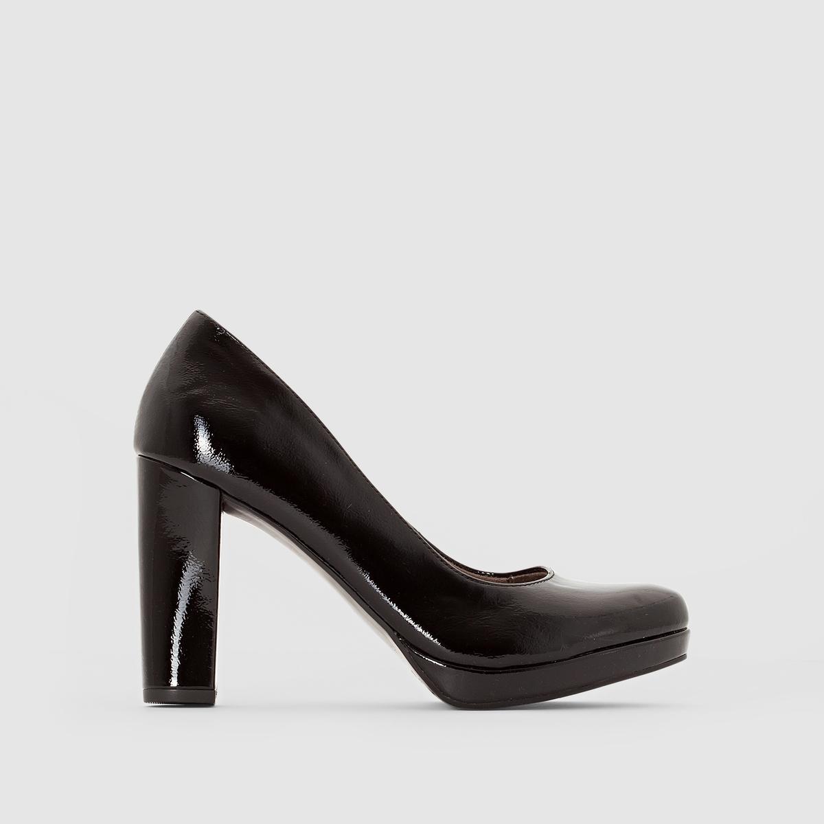 Туфли лакированные на каблуке 22435Подкладка : текстиль и синтетика   Подошва: Синтетический материалВысота каблука: 8 смФорма каблука : ШирокийМысок : ЗакругленныйЗастежка : без застежки<br><br>Цвет: Черный лак<br>Размер: 38
