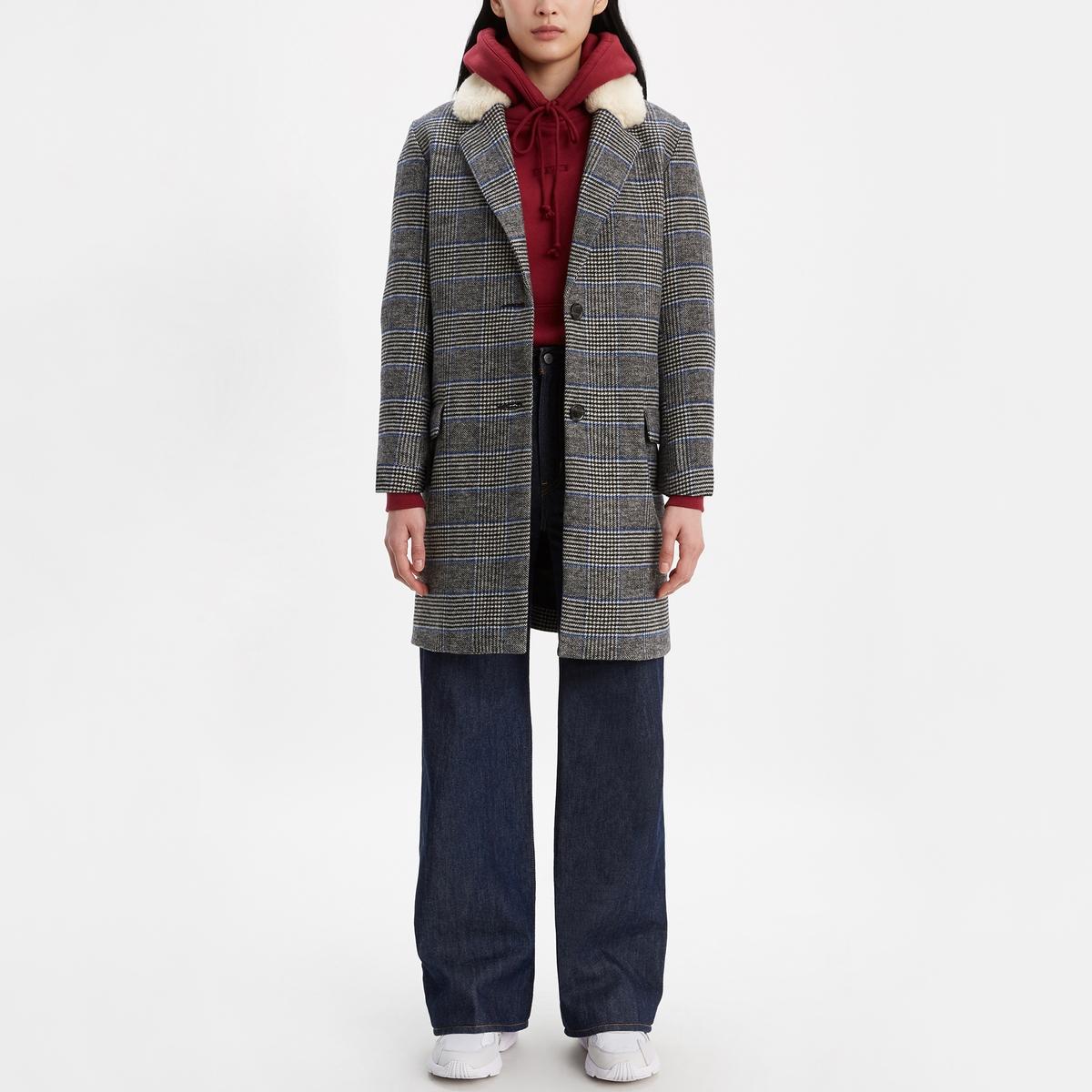 Abrigo largo con cuello de borreguillo sintético
