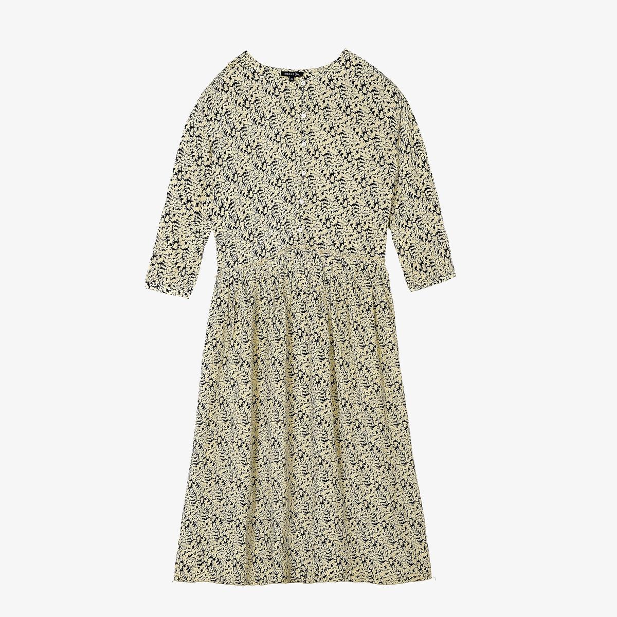 Платье La Redoute С принтом с длинными рукавами DAHLIA 38 (FR) - 44 (RUS) бежевый платье с длинными рукавами с вышивкой