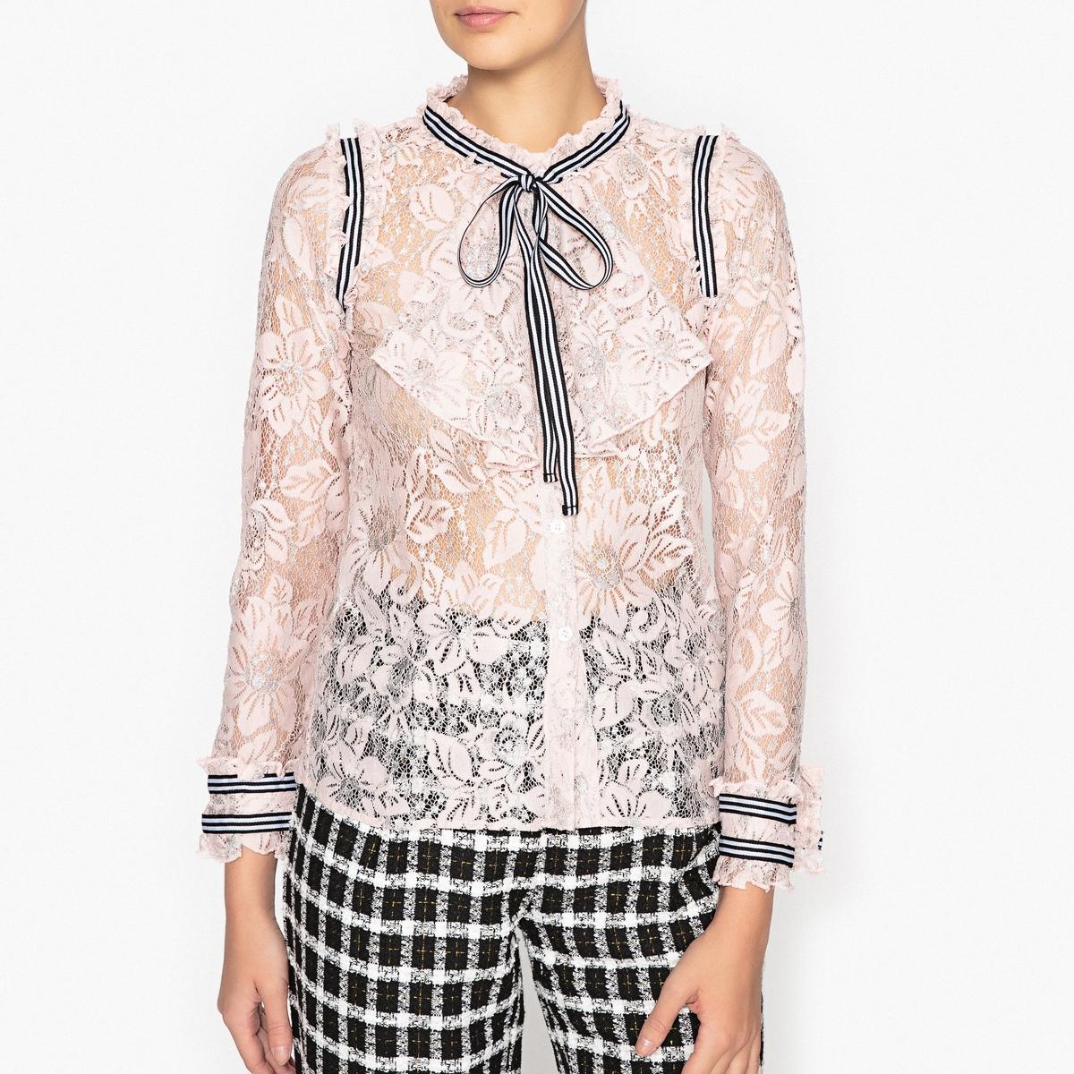 Рубашка кружевная с галстуком-бантомРубашка SISTER JANE из кружева с воротником в виде галстука-банта и блестящими деталями.Детали   •  Длинные рукава  •  Покрой бойфренд, свободный •  Галстук-бантСостав и уход  •  6% металлизированных волокон, 94% полиамида •  Следуйте советам по уходу, указанным на этикетке   •  Бант с крупным узелком, с воланами на вырезе, на манжетах и на прорезях<br><br>Цвет: телесный