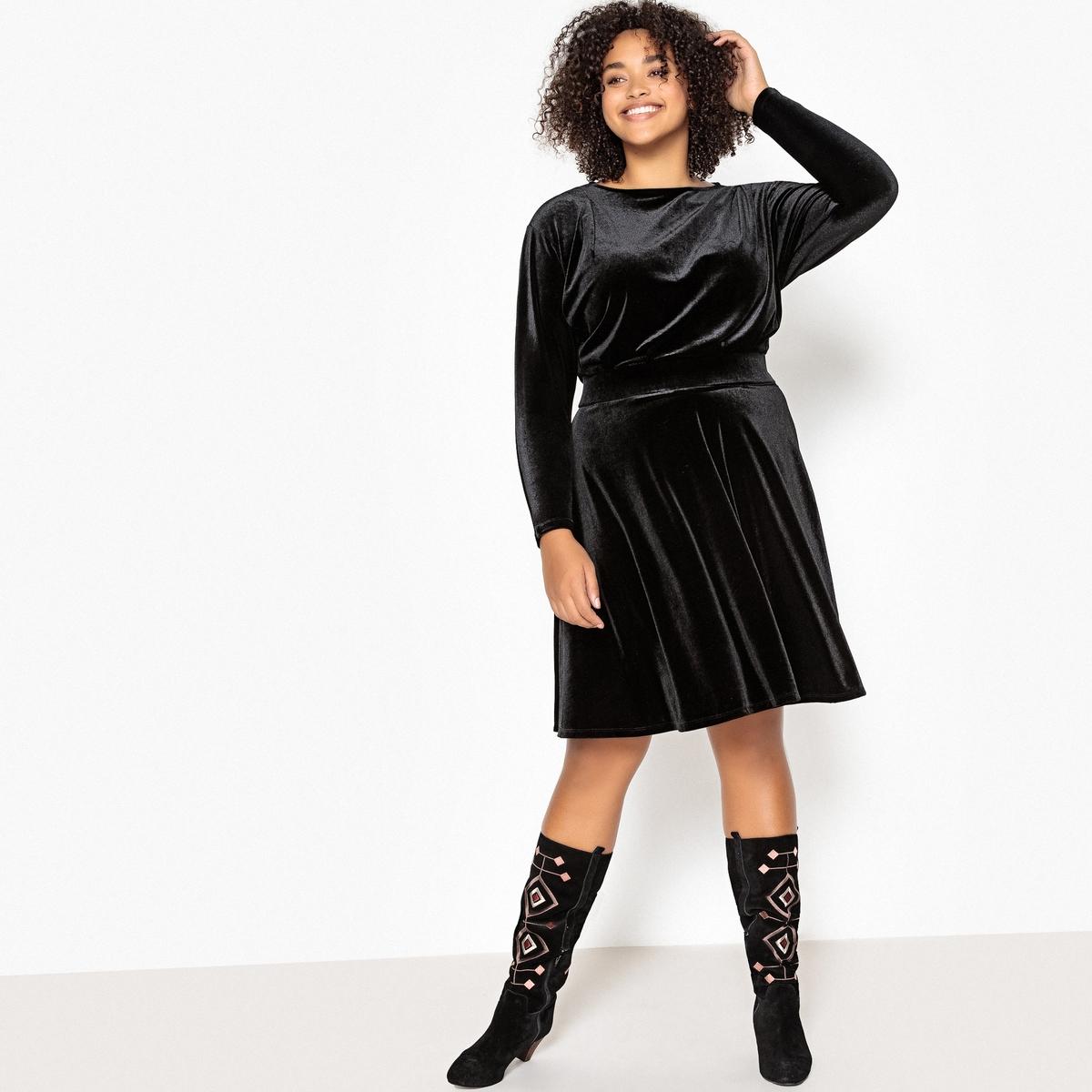 Платье La Redoute Расклешенное средней длины с длинными рукавами из велюра 56 (FR) - 62 (RUS) черный цены