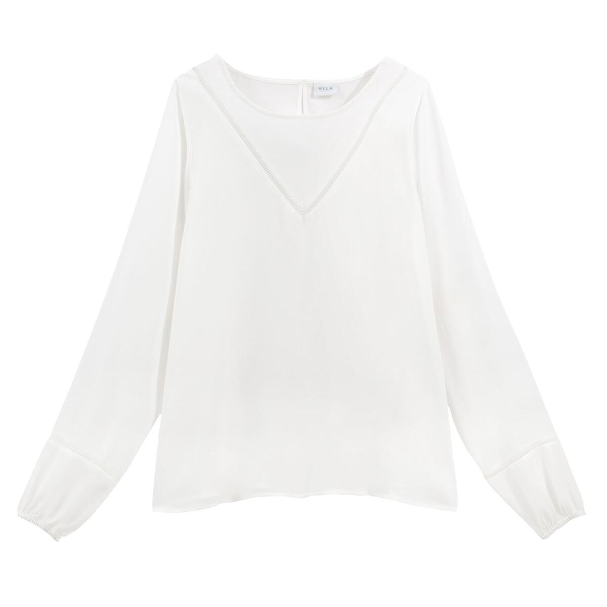 Блузка La Redoute С круглым вырезом и вышивкой 36 (FR) - 42 (RUS) белый платье la redoute радужное estelle 36 fr 42 rus черный