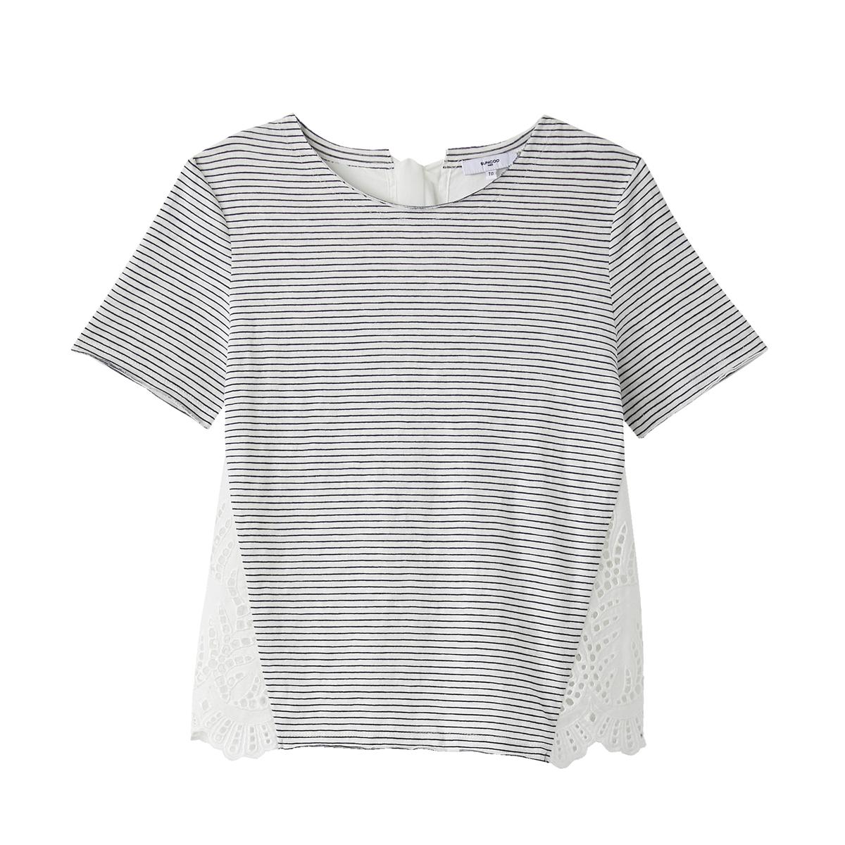 T-shirt de gola redonda, mangas curtas, às riscas