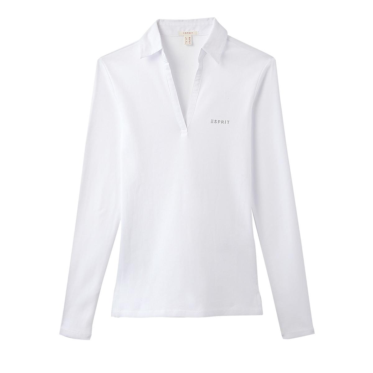 Camiseta con cuello polo, de manga larga, 100% algodón