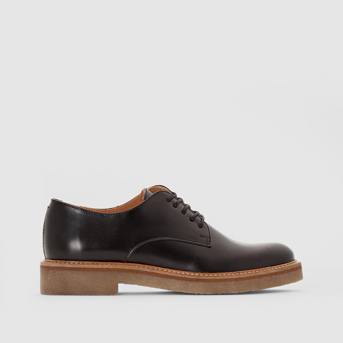 Ботинки-дерби кожаные OxfordПодкладка: Неотделанная кожа     Стелька: Неотделанная кожа     Подошва: Вальцованный каучук     Высота каблука: 3 см     Застежка: шнуровка.<br><br>Цвет: черный<br>Размер: 38