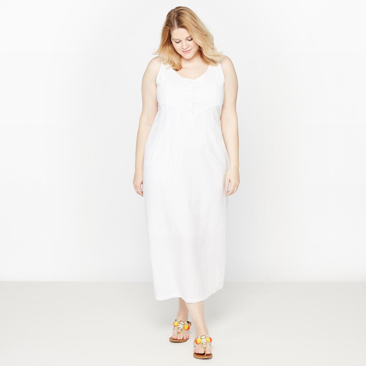 Платье длинное из льна и хлопка