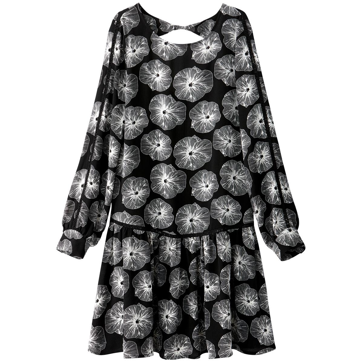 Платье средней длины с рисунком, расширяющееся к низуДетали •  Форма : расклешенная •  Длина до колен •  Длинные рукава    •  Круглый вырез •  Рисунок-принтСостав и уход •  4% эластана, 96% полиэстера •  Температура стирки 30°   •  Сухая чистка и отбеливание запрещены •  Не использовать барабанную сушку •  Низкая температура глажки<br><br>Цвет: рисунок/фон черный<br>Размер: 44 (FR) - 50 (RUS)