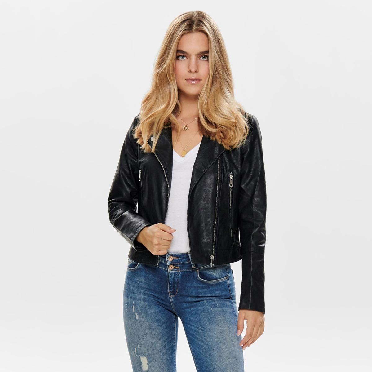 Куртка La Redoute Короткая на молнии из искусственной кожи 34 (FR) - 40 (RUS) черный платье la redoute радужное estelle 36 fr 42 rus черный