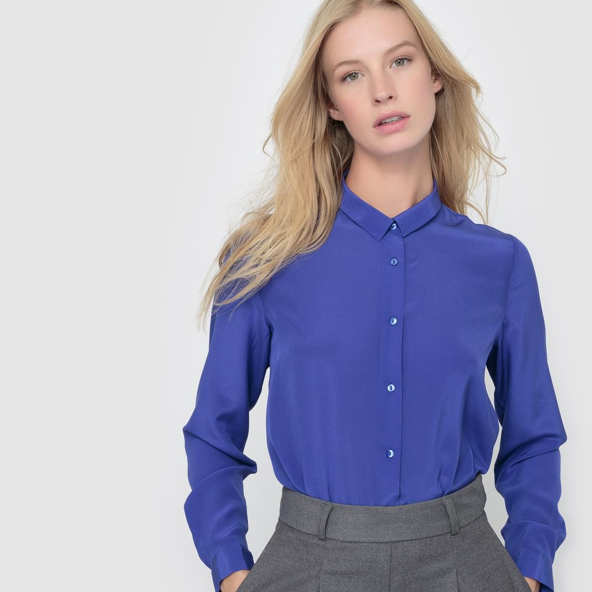 Рубашка 100% шелкаСостав и описаниеМатериал: 100% шелкаДлина: 65 см Марка: R essentiel.   УходРучная стиркаСухая (химическая) чистка разрешенаГладить на низкой температуре<br><br>Цвет: ярко-синий<br>Размер: 38 (FR) - 44 (RUS)