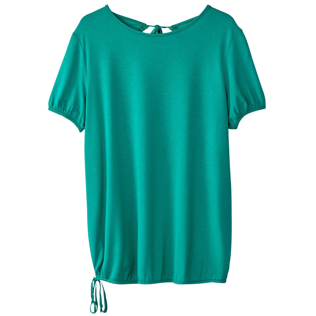 T-shirt de mangas curtas, gola redonda, decotado atrás