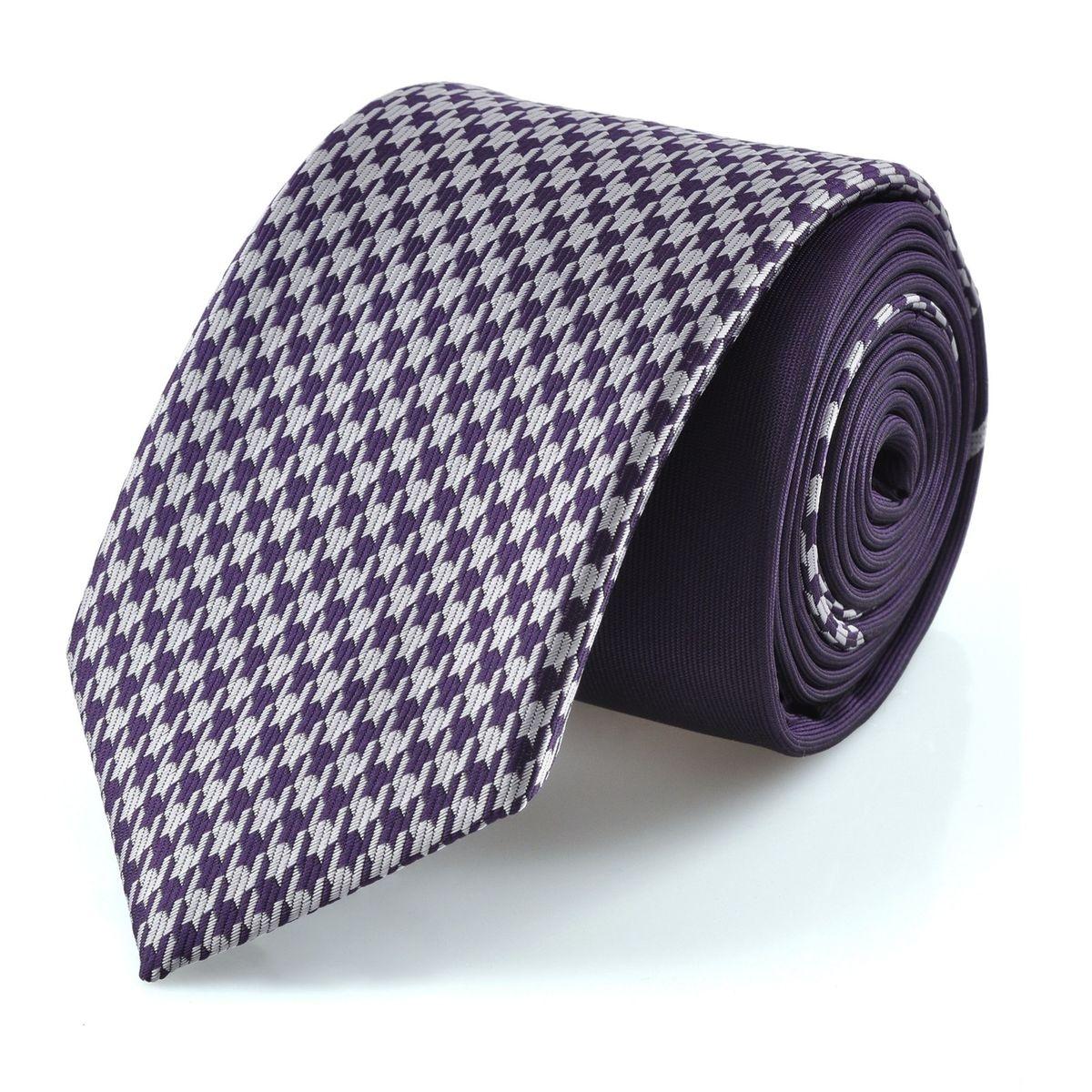 Cravate slim pieds de poule violet