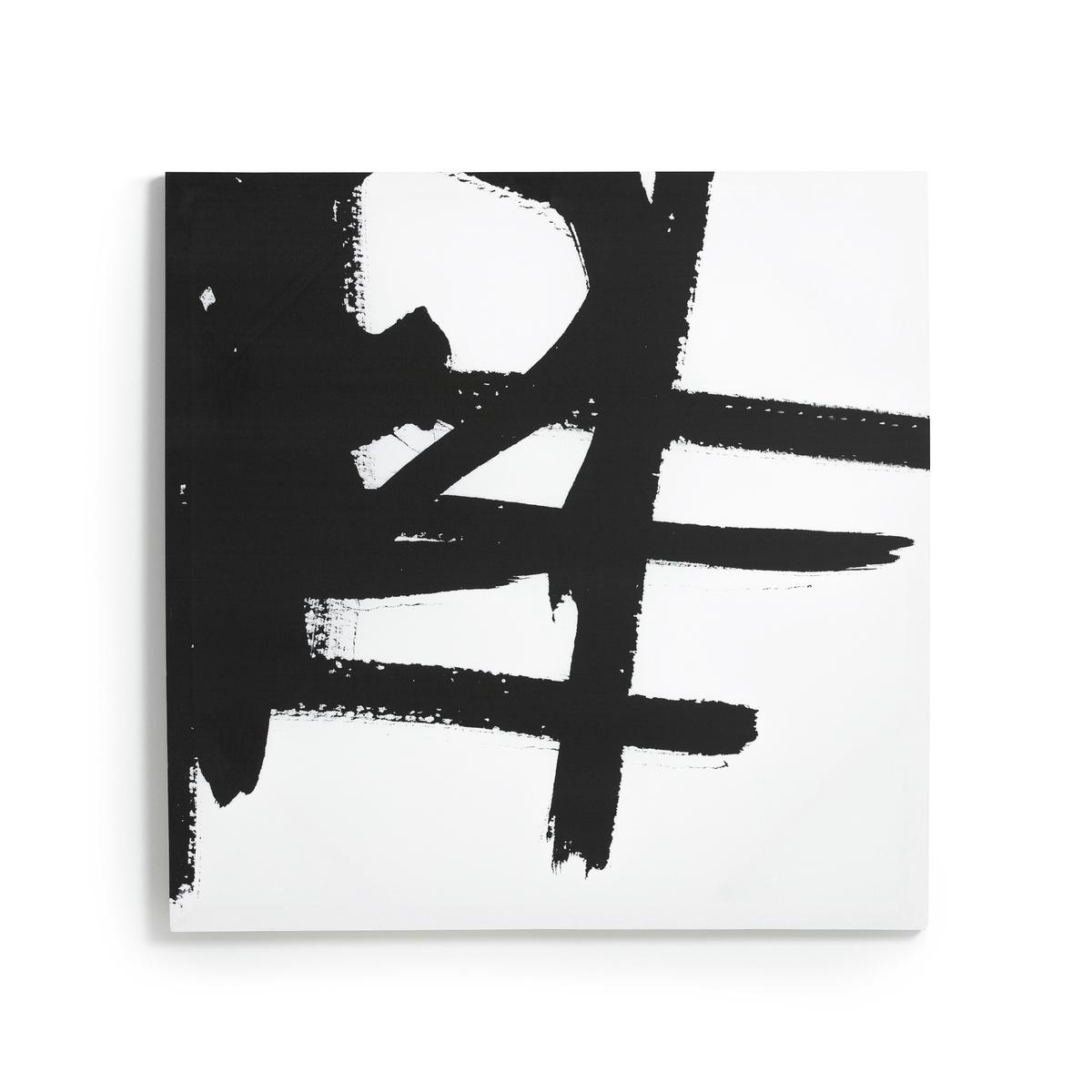 Рисунок на холсте 1, DystilaLa Redoute<br>Рисунок на канве Dystila. Абстрактный черно-белый рисунок сочетается с рисунком 2 Dystila, продающимся на нашем сайте. 2 крючка для крепления к стене (болты и дюбели в состав не входят). Размеры : Ш80 x В80 см.<br><br>Цвет: черный