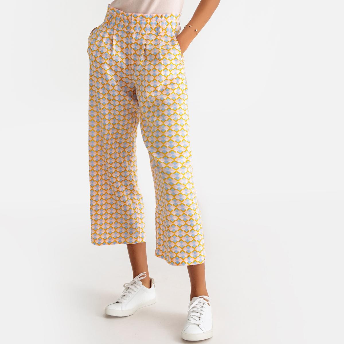 Юбка-брюки La Redoute С завышенной талией с рисунком 34 (FR) - 40 (RUS) желтый юбка la redoute короткая с завышенной талией и цветочным рисунком xs зеленый