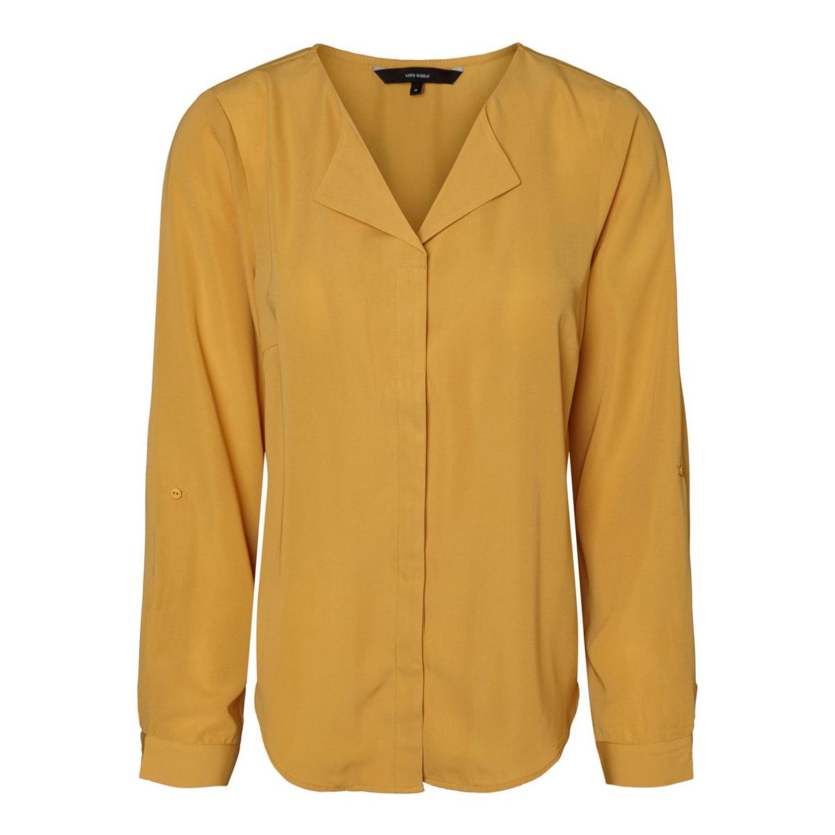 Блузка La Redoute С V-образным вырезом и длинными рукавами S каштановый блузка la redoute из вуали с принтом и длинными рукавами smoke 3 l каштановый