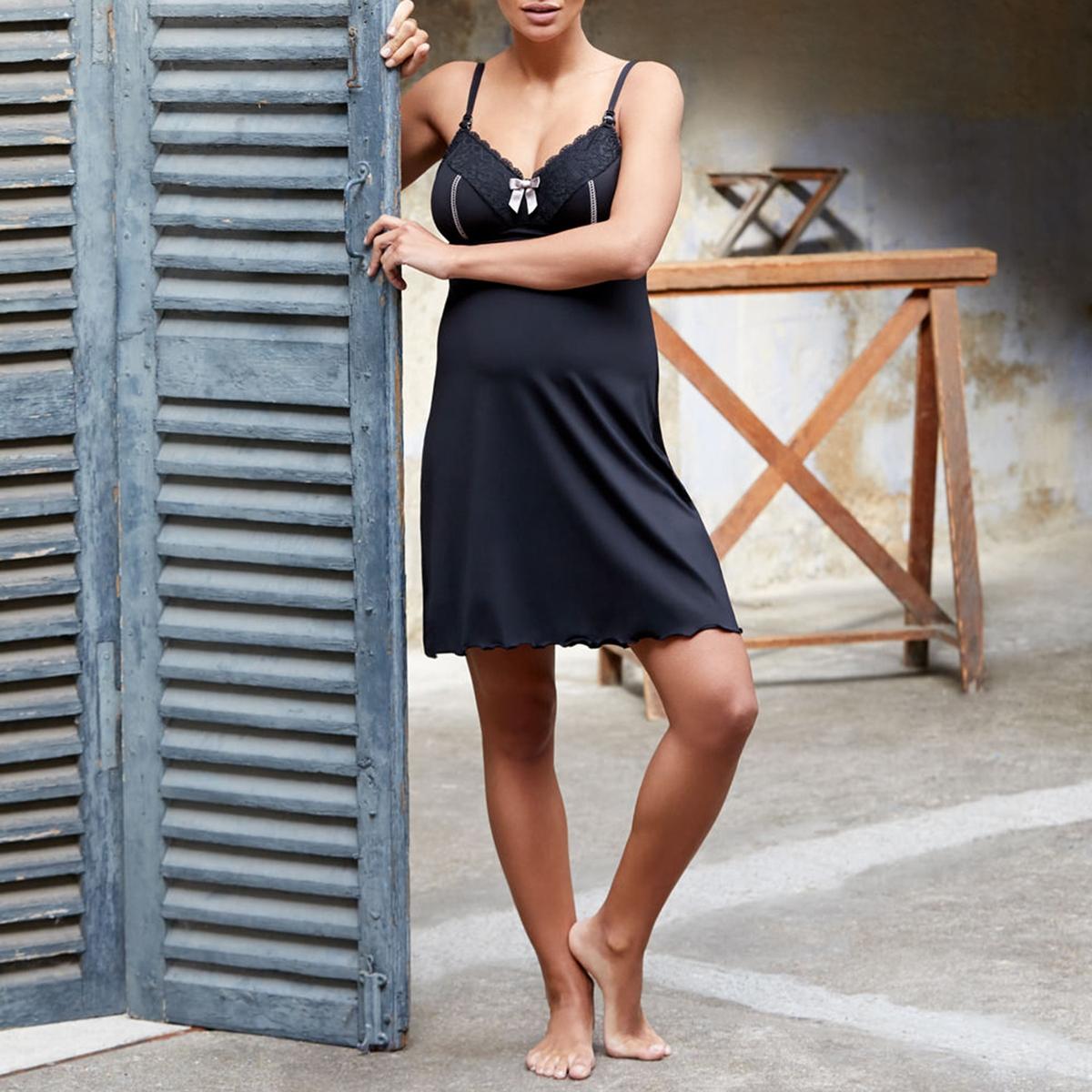 Рубашка La Redoute Ночная для грудного вскармливания Lisa XL черный бюстгальтер la redoute для периода грудного вскармливания b черный