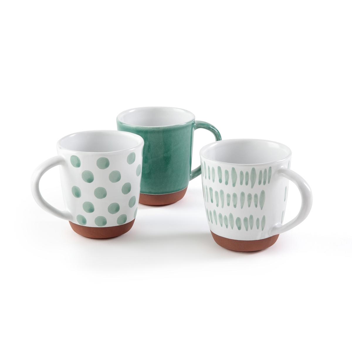 Чашка из терракоты FERIA (3 шт.)Описание:Комплект из 3 чашек из терракоты La Redoute Interieurs в оригинальных и гармоничных цветах.Характеристики 3 чашек •  Терракота, дно без оттделки •  1 чашка с рисунком в мелкие черточки •  1 чашка с рисунком в горох •  1 однотонная чашка •  Ручное производство, сделано в ПортугалииРазмеры 3 чашек •  Размеры : 13 x 13 x 10 смВсю коллекцию столового декора вы найдете на сайте laredoute.<br><br>Цвет: зеленый,персиковый